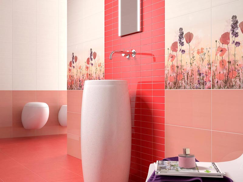 Коралловая ванная комната фото