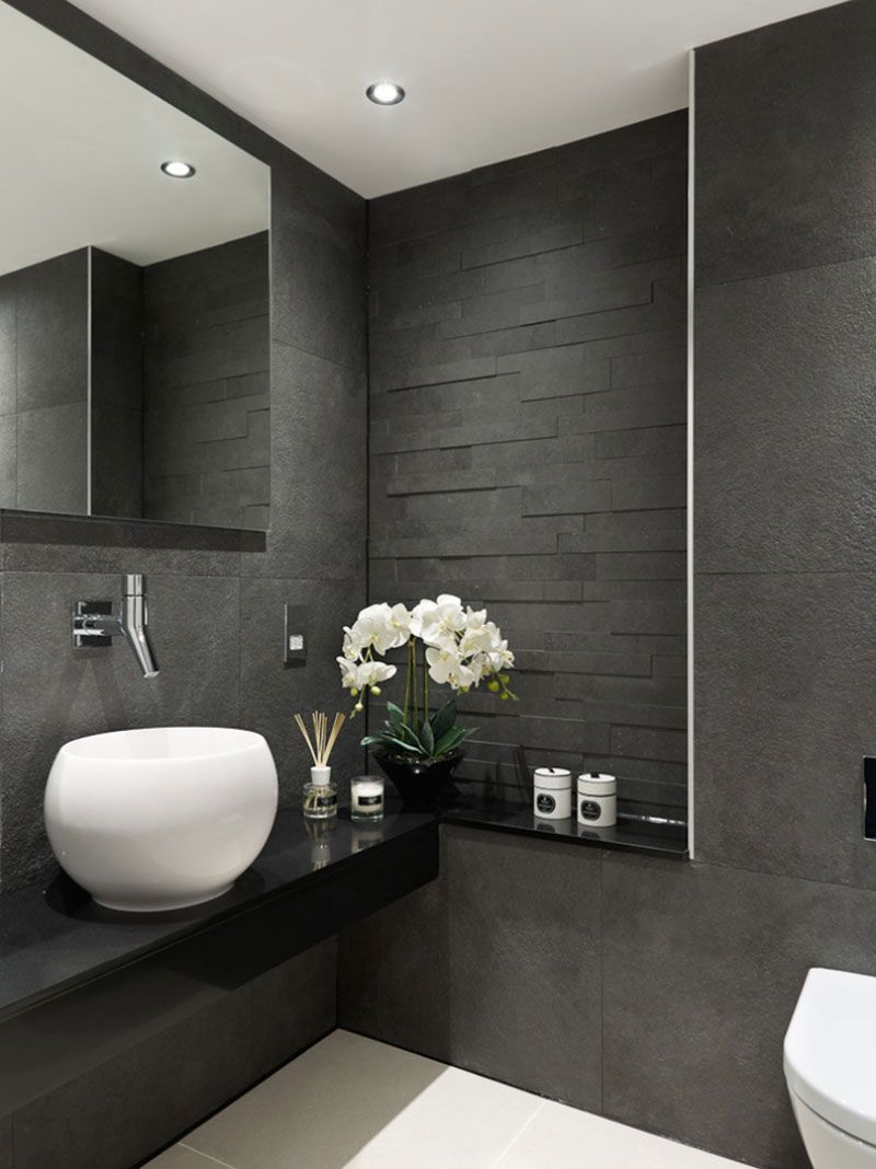 Grey and black bathroom