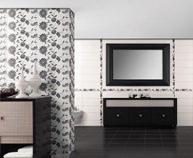 Плитка из коллекции Reims позволит вам воплотить мечту об идеальной черно-белой ванной комнате