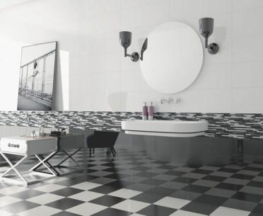 Плитка RAINBOW от Roca (Испания) в интерьере, стиль: скандинавский, современный, черно-белый
