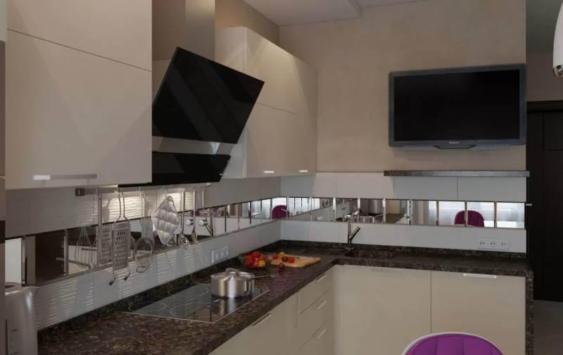 Зрительно раздвинуть стены и стереть реальные границы тесной кухни помогут зеркальные поверхности